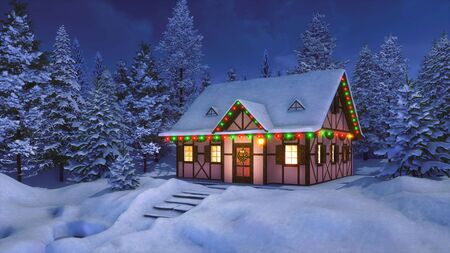 Solitary snowbound half-timbered rural house decorated for Christmas among snow covered fir tree forest at winter night. With no people 3D illustration for Xmas or New Year from my 3D rendering file.