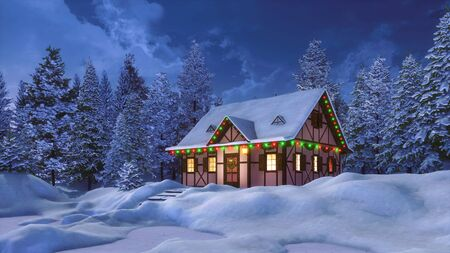 Dreamlike winter scenery with snowbound half-timbered rural house decorated by christmas lights among snow covered pine forest at night. 3D illustration for Xmas or New Year from my 3D rendering file. Imagens