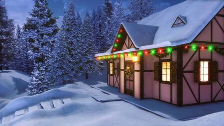 Facade of snowbound half-timbered rural house decorated for Xmas with christmas lights, wreath and garlands among snowy fir forest at winter night. Festive 3D illustration from my 3D rendering file. Imagens
