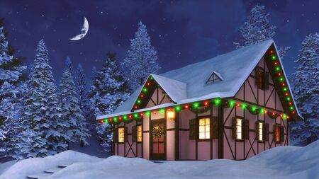 Snowbound half-timbered rural house decorated for Christmas among snowy  fir forest at winter night with half moon in the starry sky. 3D illustration for Xmas or New Year from my 3D rendering file.