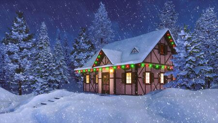 Solitary snowbound half-timbered rural house decorated for Christmas among snow covered fir forest at winter night during heavy snowfall. Festive 3D illustration from my 3D rendering file. Imagens