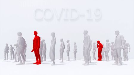 Two man infected with virus COVID-19 with a high temperature among crowd of abstract unrecognizable people on white background. Graphic concept on coronavirus pandemic theme 3D illustration rendering. Imagens
