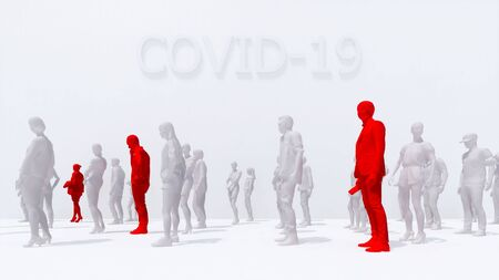 Schematic representation of detection people with virus COVID-19 with a high temperature among unrecognizable abstract crowd. Graphic concept on coronavirus pandemic theme 3D illustration rendering.