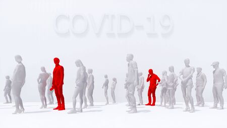 Two man infected with virus COVID-19 with a heat among crowd of unrecognizable people on white background. Schematic representation concept on coronavirus pandemic theme 3D illustration rendering.
