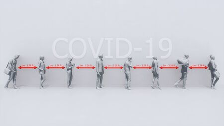 Monochrome schematic representation of unrecognizable people waiting in line and keeping safe distance on white background. Taking precautions in pandemic of COVID-19 virus concept 3D illustration. Imagens