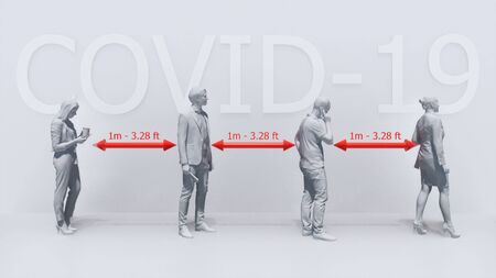 Monochrome 3D illustration of unrecognizable people silhouettes keeping safe distance on white background. Graphic concept of taking precautions and avoid close contact in pandemic of COVID-19 virus.
