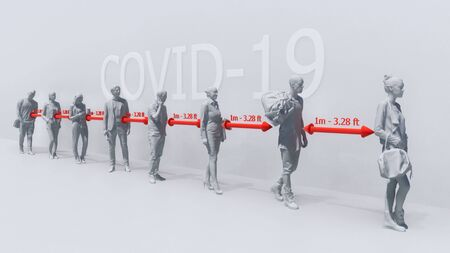 Taking precautions in pandemic of COVID-19 virus. Monochrome schematic conceptual 3D illustration of abstract unrecognizable people waiting in line and keeping safe distance on white background.