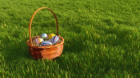 Close up of wicker basket with dyed colorful easter eggs among fresh green grass at spring day. Decorative paschal 3D illustration from my own 3D rendering file.