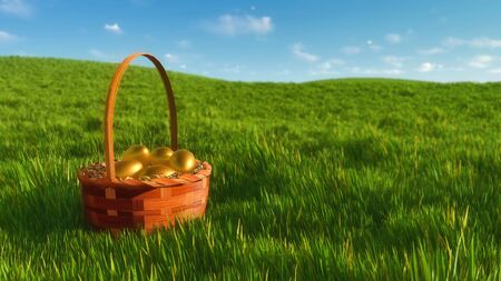 Close up of traditional easter wicker basket with bright golden colored eggs among fresh green grass at sunny spring day. Decorative paschal 3D illustration from my own 3D rendering file.
