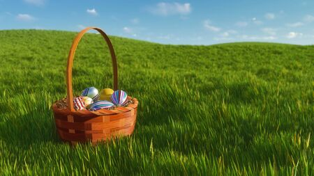 Close-up of traditional easter wicker basket with dyed colorful eggs among fresh green grass at sunny spring day. Decorative paschal 3D illustration from my own 3D rendering file.