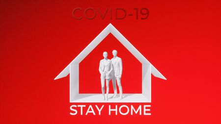 Abstract graphic representation of unrecognizable people couple stay at home on self-isolation quarantine. Taking precautions to stop virus spread in pandemic of COVID-19 concept 3D illustration.