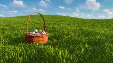 Traditional easter wicker basket with dyed colorful eggs among fresh green grass at sunny spring day. With no people decorative 3D illustration from my own 3D rendering file.
