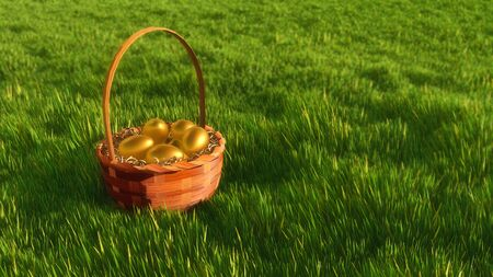 Close-up of traditional easter wicker basket with bright golden colored eggs among fresh green grass at spring day. Decorative paschal 3D illustration from my own 3D rendering file.