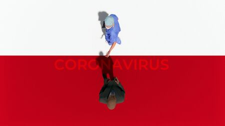 Top view of unrecognizable male doctor meets potential african american male patient in pandemic of coronavirus COVID-19. Abstract graphic concept 3D illustration from my own 3D rendering file. Imagens