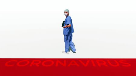 Abstract graphic concept of unrecognizable male doctor in protective mask waiting potential patients and lending a hand on white background. Pandemic of coronavirus COVID-19 theme 3D illustration.