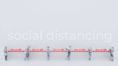 Abstract graphic representation of unrecognizable people waiting in line keeping social distancing in pandemic of COVID-19 on white background with copy space. Precautions conceptual 3D illustration.
