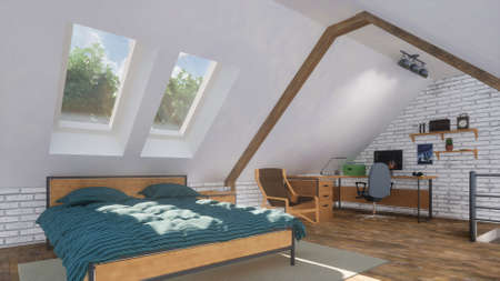 Minimalist interior of modern bright flat apartment on attic floor with double bed and small studio or home office on background at daytime. With no people 3D illustration from my 3D rendering file.