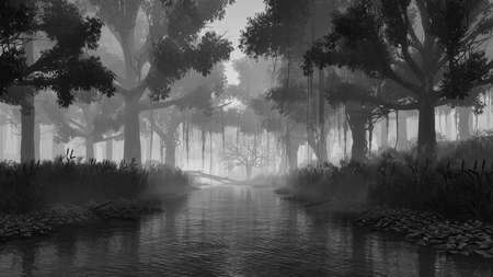 Spooky woodland landscape with creepy tree silhouettes on overgrown shore of swampy forest river at dark misty dusk or night. Fantasy 3D illustration from my own 3D rendering. Zdjęcie Seryjne
