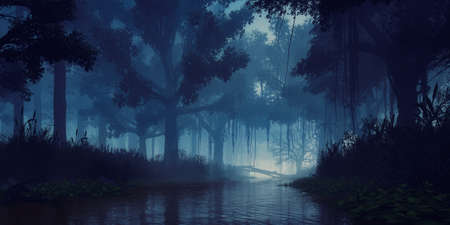 Mysterious woodland scenery with creepy tree silhouettes on overgrown shore of swampy forest river at dark foggy dusk or night. With no people fantasy 3D illustration from my own 3D rendering.