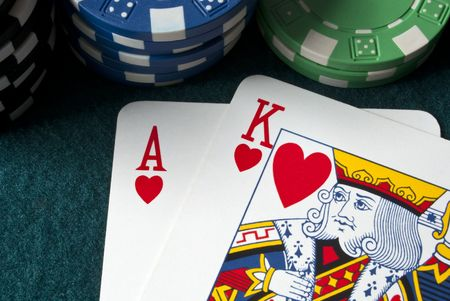 chips and ace king hand on a gambling table Stock Photo - 6775320