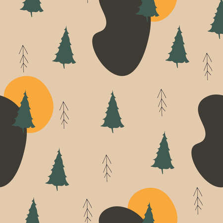 Cute forest vector pattern. Seamless design with firs hand-drawn trees in scandinavian style and spots. Children's illustrations for clothing, textiles, wrapping paper, covers.