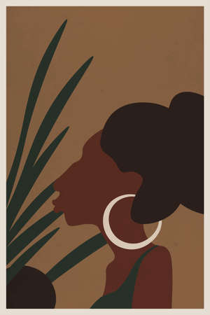 Boho art design, minimalism. Vector drawing of an African female face with brown hair on a background of green leaves. Abstract painting for art print in living room, office, bedroom.Modern Home Decor