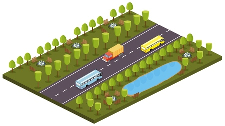 Cars, buses in the isometry