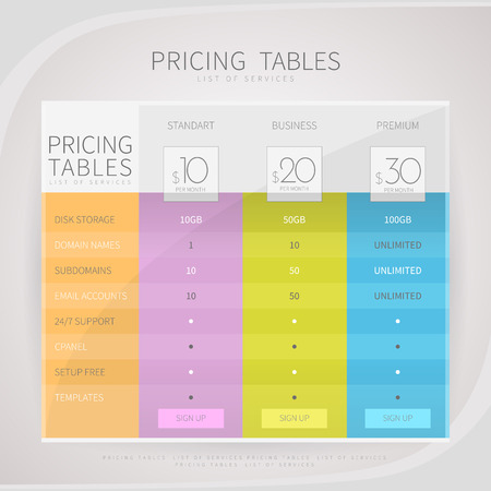 Pricing comparison table set for commercial business web services and applications. Design element interface for website, banners, hosting, ui, ux, mobile app. Vector illustration template. Иллюстрация