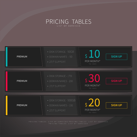 Pricing comparison table set for commercial business web services and applications. Design element interface for website, banners, hosting, ui, ux, mobile app. Vector illustration template. 向量圖像