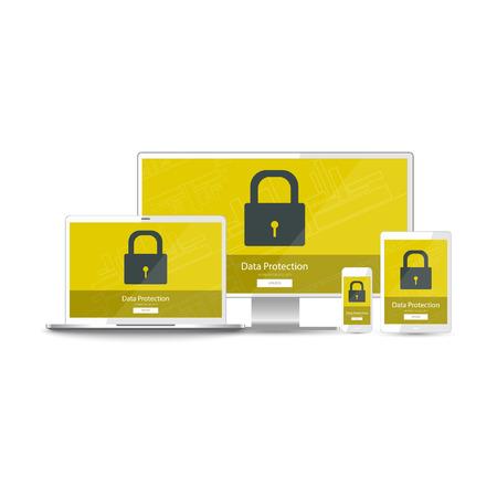 Datenschutz-Informationen für alle Ihre Geräte - realistische Handy, Tablet, Laptop, Computer-Monitor (PC). Greenscreen-Vektorillustrations-Sicherheitsschutz mit dem Vorhängeschloß (Verschluss) und Knopf für entsperren sich lokalisiert auf weißem Hintergrund. Vektorgrafik