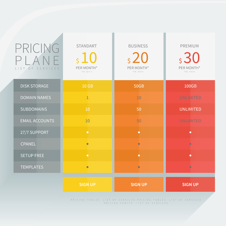 Pricing comparison table set for commercial business web services and applications. Design element interface for website, banners, hosting, ui, ux, mobile app. Vector illustration template. Vettoriali
