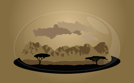 Living nature in a drop of water. Savannah souvenir toy. A cartoon vector illustration.