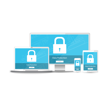 protection devices: Data protection information for all your devices - realistic mobile phone, tablet, laptop, computer monitor (pc). Green screen vector illustration security protection with padlocked (lock) and button for unlock isolated on white background. Illustration