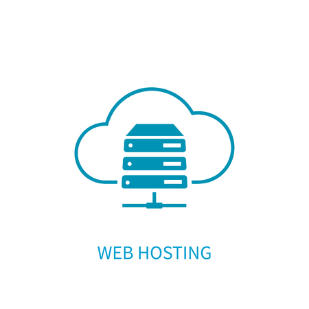 Web hosting server icon with internet cloud storage computing network connection sign. Concept design style vector illustration elements for website, mobile, banner,  application on white background.