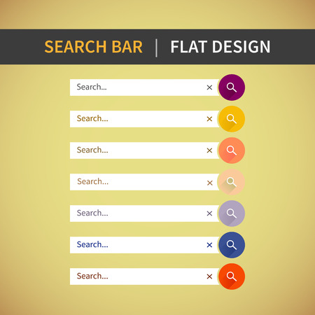 Colorful Web Set of Search Bar for website, mobile app. Element of interface in flat design.