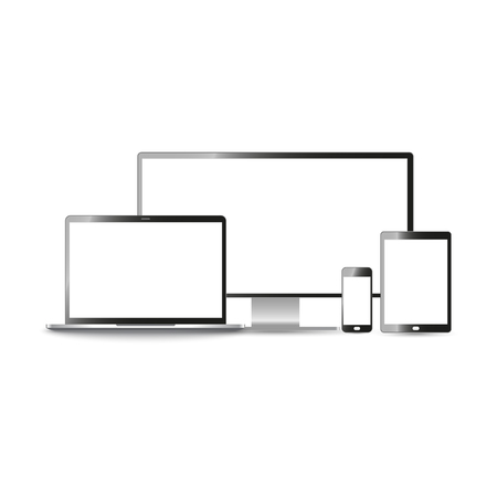 led: Mock-up Realistic devices: mobile, tablet, laptop, pc monitor isolated on a white background. Vector illustration.