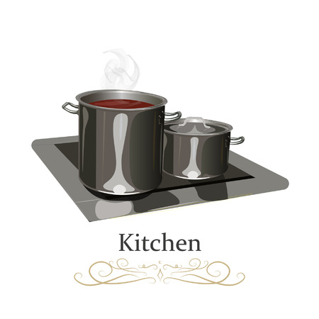 Steel metal pan on the stove. Realistic vector illustration. Top view side view close. 向量圖像