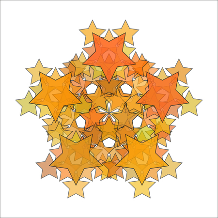 Abstract gold stars on white background. Vector illustration. Illustration