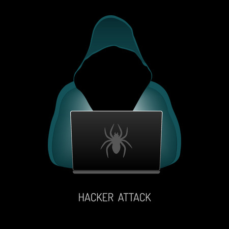 Anonymous computer hacker in the hood stealing information with laptop. Vector illustration isolated on white background.