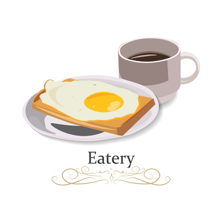 Eatery, fast food, snack bars. Fried egg and cup of tea, vector illustration icon. 向量圖像