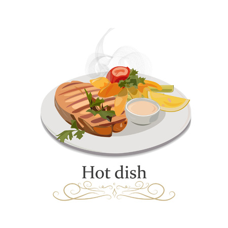 Hot dish with fish, potatoes, greens, lemon, sauce and tomatoes on the plate. Top view side view close. Vector illustration.