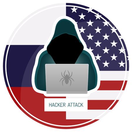 Russian hacking USA. Hacker in a dark hoody sitting in front of a laptop on white background, Vector illustration. 向量圖像