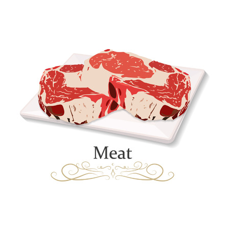 Beef, beef, pork, lamb, ground meat, steak vector illustration icon.