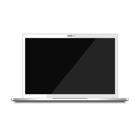 Modern glossy laptop with blank black screen isolated on white background, front view. Vector illustration. 向量圖像