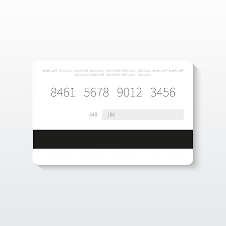 White credit card icon template isolated on grey background. Vector illustration.