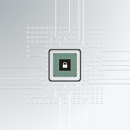 Realistic microchip, cpu, microprocessor on detailed printed circuit board with lock. Vector illustration. Ilustração