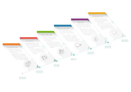 현대 타임 라인 infographics 성장, 워크 플로 또는 프로세스 다이어그램, 순서도, 벡터 일러스트 레이 션 플랫 디자인 템플릿. 스톡 콘텐츠 - 84735381