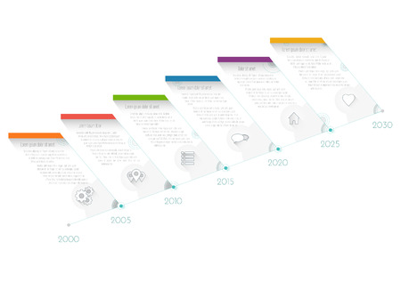 Modern Timeline infographics growth, workflow or process diagram, flowchart, vector illustration template in flat design.