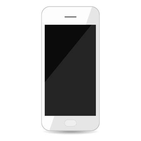 Realistic white smartphone with blank black screen isolated on white background, top view. Vector illustration.