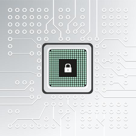 Micropuce réaliste, unité centrale de traitement, microprocesseur sur une carte de circuit imprimé détaillée avec verrou. Illustration vectorielle Banque d'images - 84706769